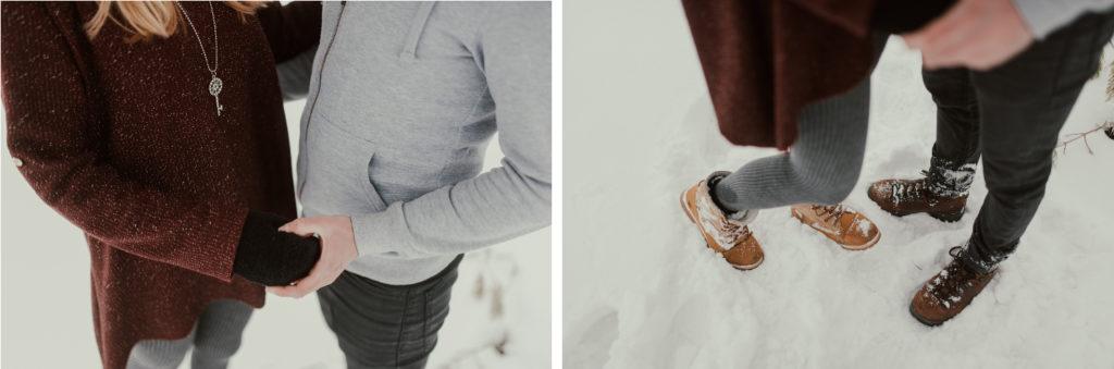 zimsko fotografiranje para v snegu Logatec